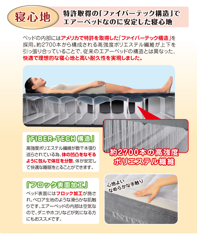 特許取得のファイバーテック構造でエアーベッドなのに安定した寝心地