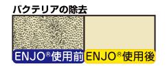 ENJO バクテリアの除去。使用前と使用後でその違いは明らか。