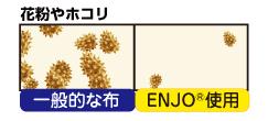 ENJO 花粉やホコリ。一般的な布で取り除けないようなホコリや花粉もENJOなら取れる。