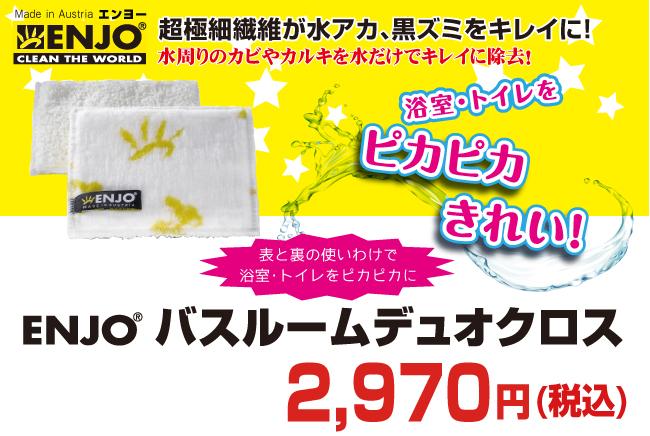 驚くべき吸収力と除菌力!ENJO バスルームデュオクロスが送料無料で2500円+税!