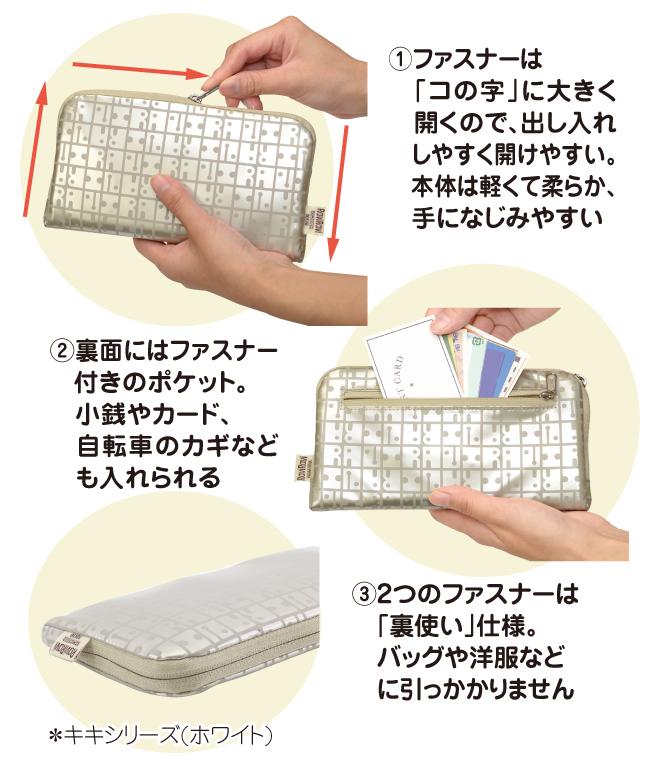 コの字型ファスナー、裏面のファスナー付きポケット、ファスナーの裏使い仕様
